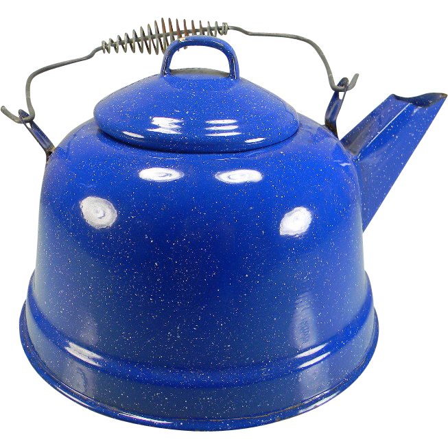 Vintage Blue & White Speckled Enamel Tea Kettle with Wire Bail