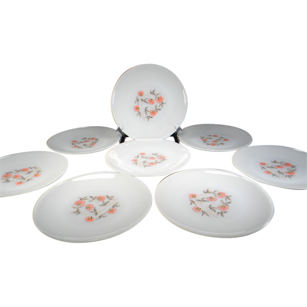 Eight Fire King Fleurette Dinner Plates