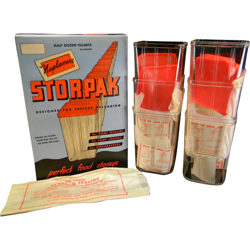 Vintage 1940's Nuplaware Storpack Food Storage Containers in Original Box