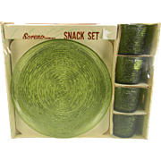 Anchor Hocking Avocado Green Soreno Snack Set in Original Box