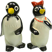 Vintage Willie & Millie Penguin Salt & Pepper Shakers