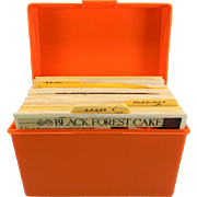 Vintage Orange Plastic Recipe Box with Recipes