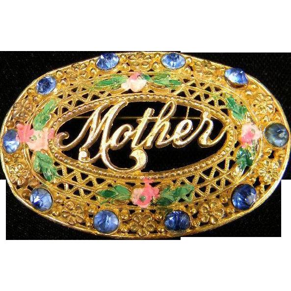 """Vintage Oval """"Mother"""" Brooch"""