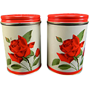 Vintage Aluminum Salt & Pepper Shakers with Red Rose Motif