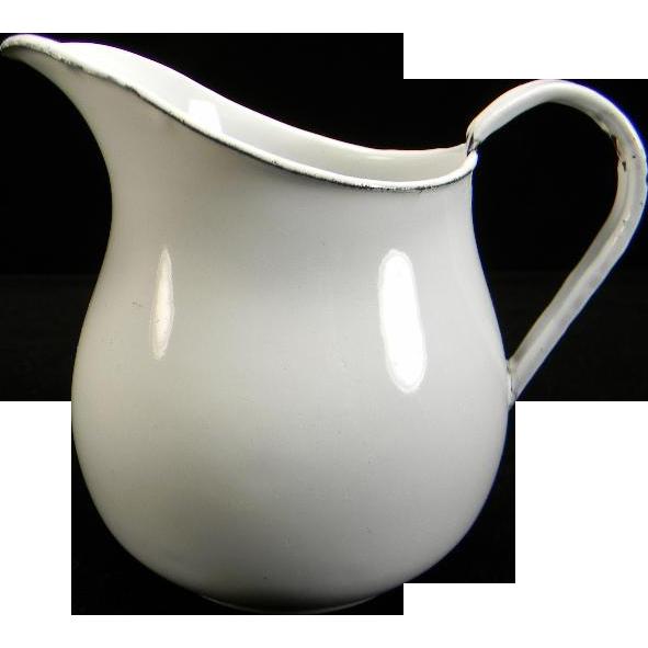 Vintage White Enamel Milk Pitcher/Creamer