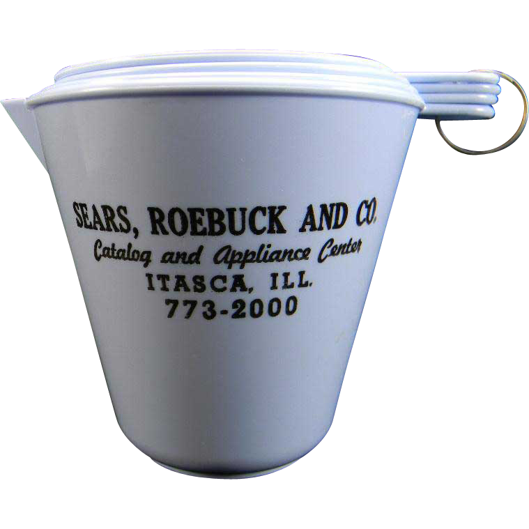 Vintage Plastic Measuring Cup Set with Sears Advertising