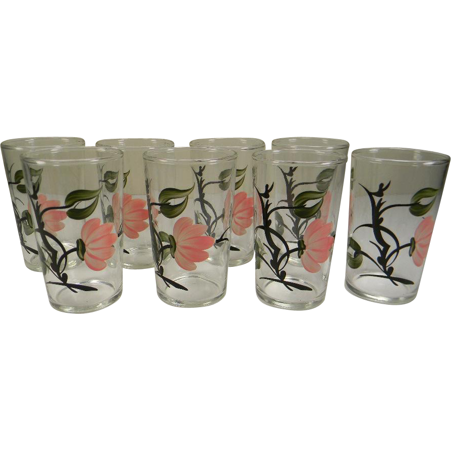 Eight Vintage Pink Dogwood Juice Tumblers by Federal Glass