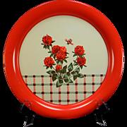 Vintage Floral & Plaid Serving Tray