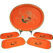 Vintage Peacock Tray Set by Fabcraft