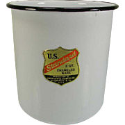 Vintage U.S. Standard 2 Qt. Enamel Container with Original Label