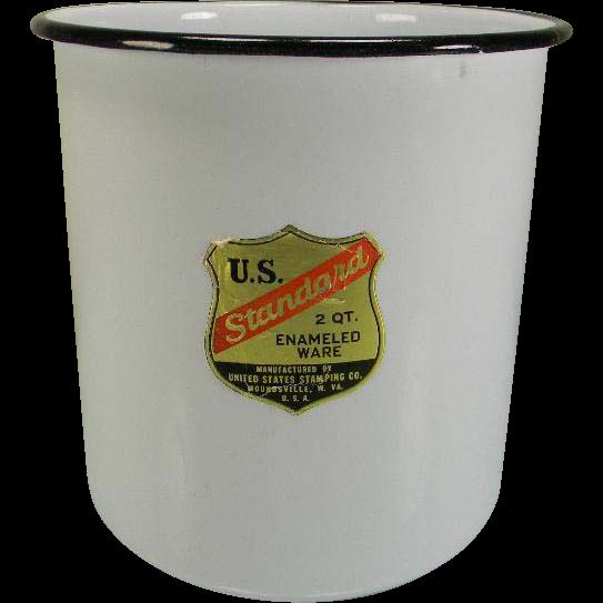 Vintage U.S. Standard 2 Qt. Enamel Container with Original Label