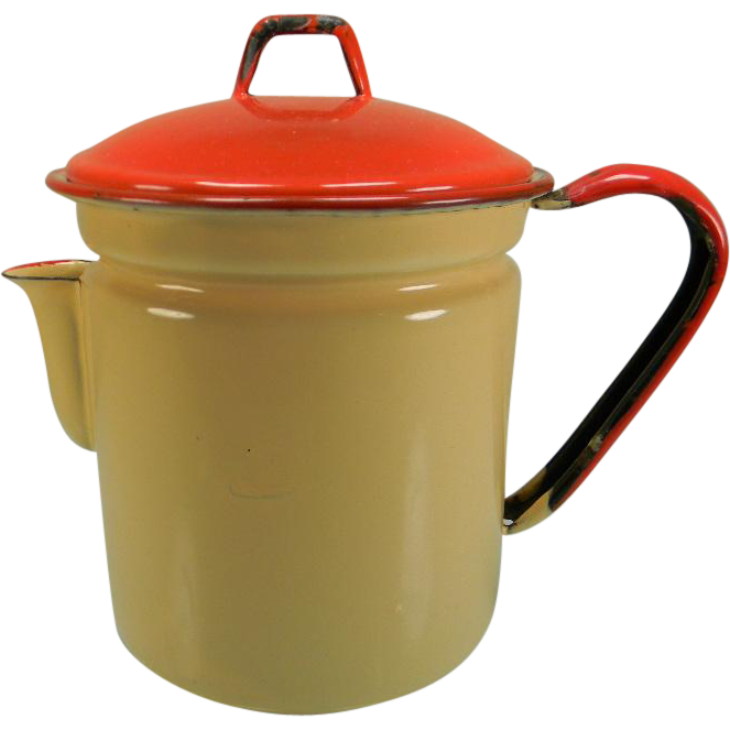 Vintage Beige Enamel Coffee Pot with Red Lid, Trim, & Handle