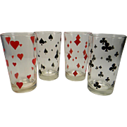 Four Vintage Playing Card Tumblers