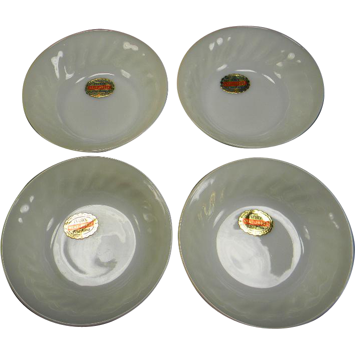 Four Ivory Fire King Swirl Fruit/Dessert Bowls with Original Labels