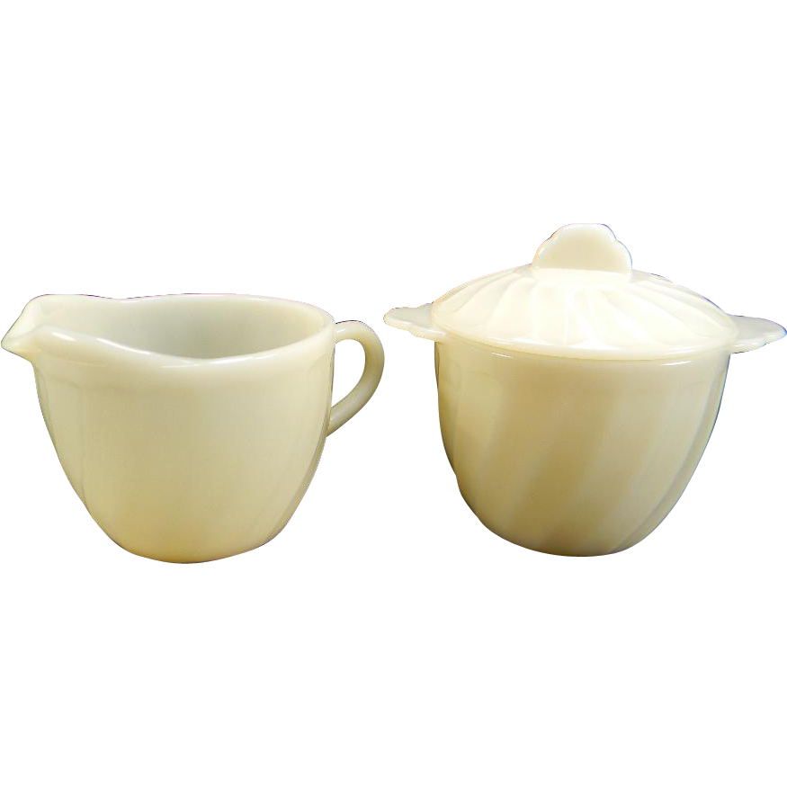 Ivory Fire King Swirl Creamer & Sugar with Lid