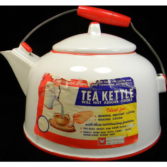 Vintage Red & White Columbian Ware Enamel Tea Kettle with Original Label