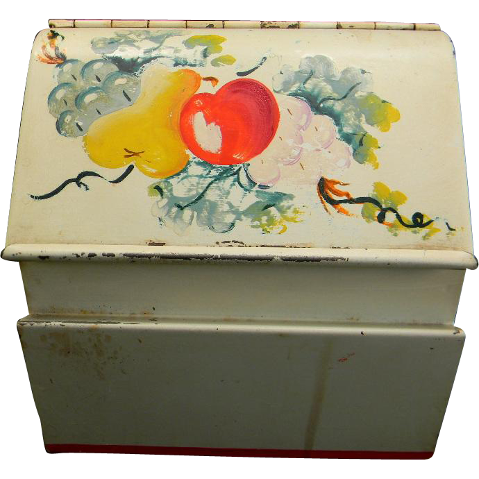 Colorful Vintage Fruit Motif Recipe Cabinet with Recipes