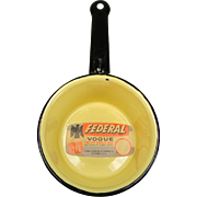 Vintage Yellow Enamel Sauce Pan with Black Trim and Original Label