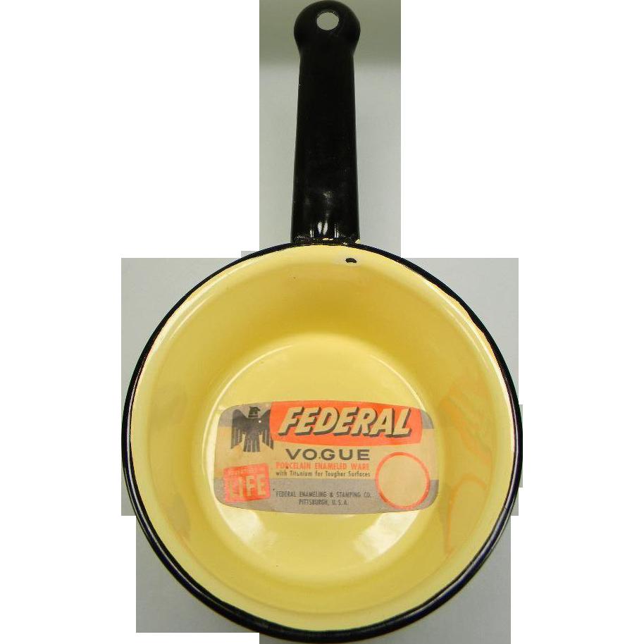 Vintage Yellow Enamel Sauce Pan with Black Trim and Original Label