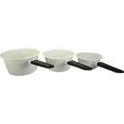 Rare Vintage Black & White Enamel Sauce Pan Set