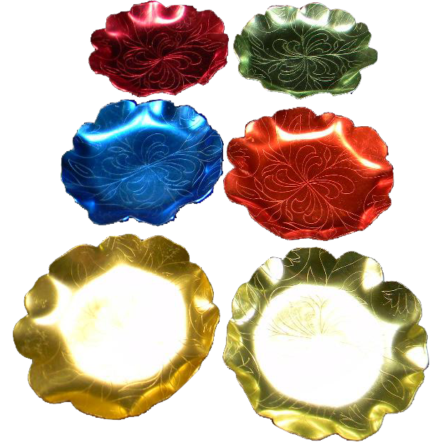 Six Colorful Vintage Scalloped Metal Coasters