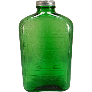 1930's Forest Green Owens-Illinois Embossed Water Bottle