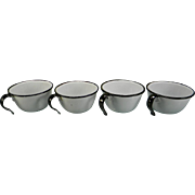 Four Vintage Black & White Enamel Cups
