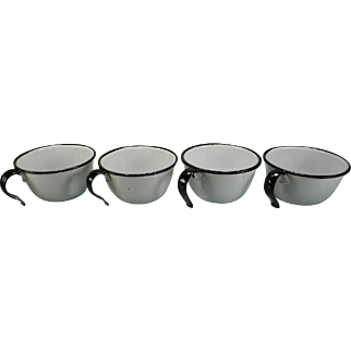 Four Vintage Black & White Enamel Cups