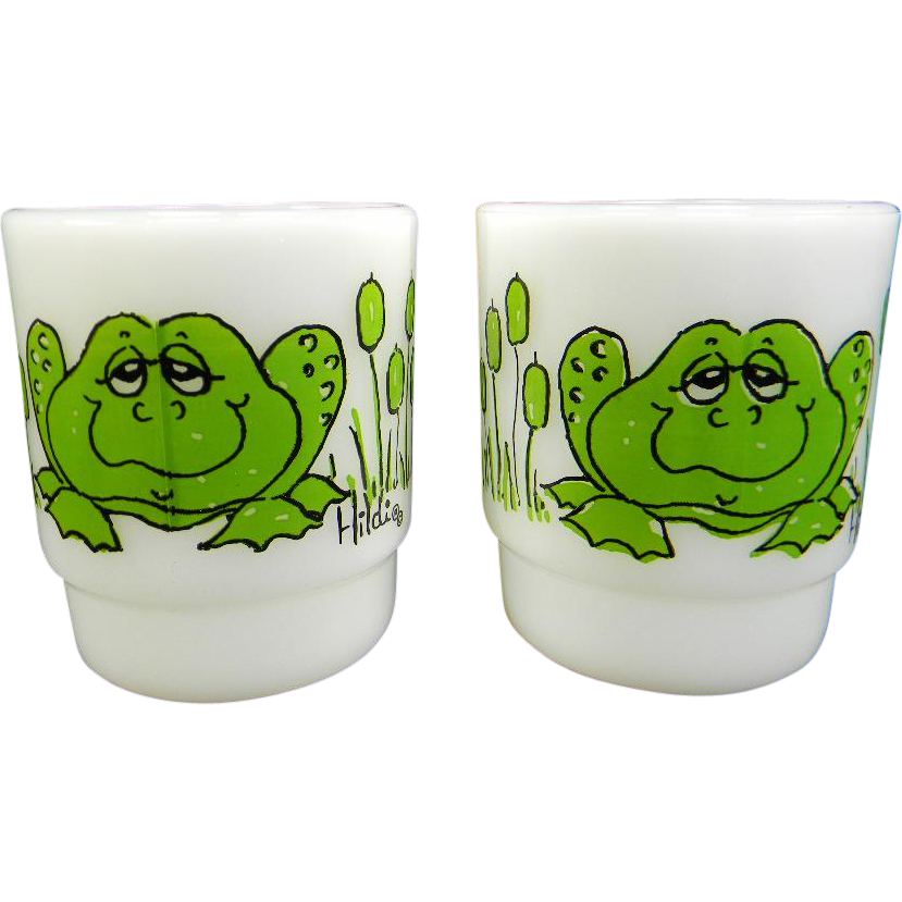 "Two Fire King ""Frog"" Mugs Signed Hildi"