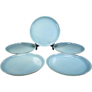 Five Fire King Turquoise Blue Dinner Plates