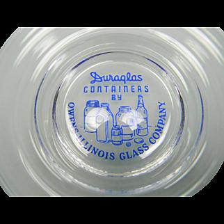 Vintage Crystal Advertising Duraglas Ringed Bowl