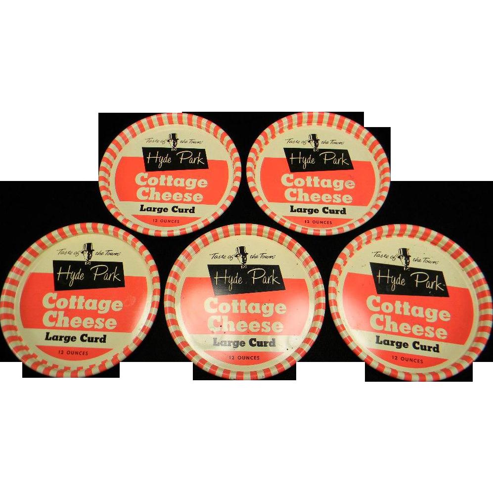 Five Vintage Metal Hyde Park Cottage Cheese Lids