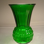 Forest Green Pineapple Vase (E597) by Anchor Hocking