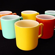 Six Colorful Hazel Atlas Fired-On Mugs