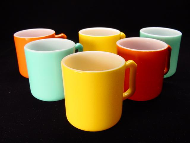 Six Colorful Hazel Atlas Fired-On Mugs