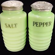 Jadite Ribbed Salt & Pepper Shakers by Jeannette