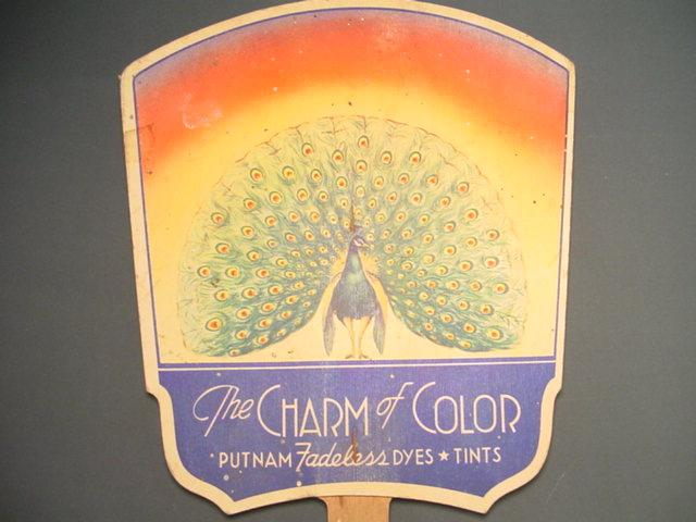 """The Charm of Color"" Advertising Fan by Putnam Fadeless Dyes and Tints"
