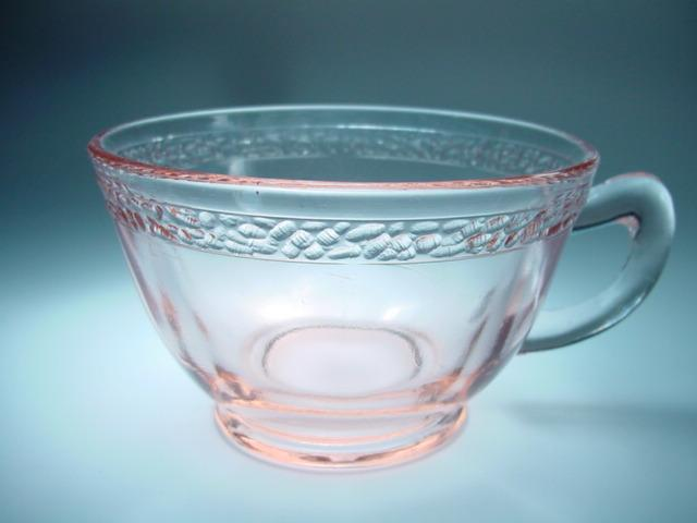 Pink Pebbled Rim Cup by L. E. Smith Glass Company