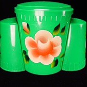 Flowered Green Salt/Pepper/Sugar Set by Plastic Novelties Inc.