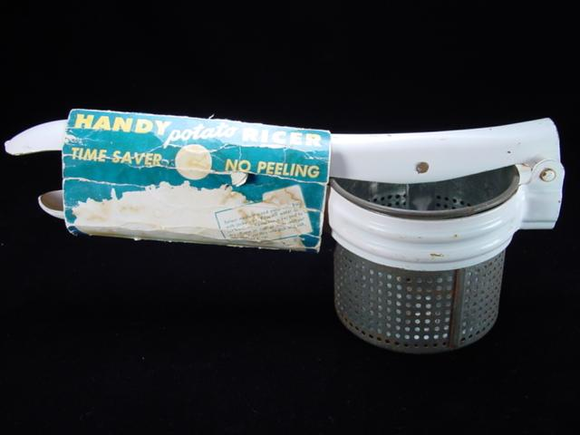 Vintage White Potato Ricer/Fruit Press by Handy Things with Original Packaging