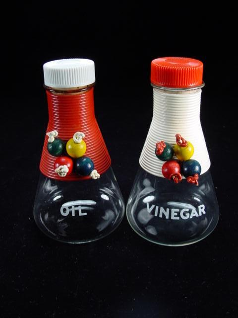 Colorful Vintage Vinegar & Oil Cruets