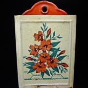 Vintage White & Red Floral Match Safe