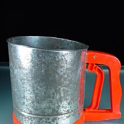 Vintage Bromco Three Screen Sifter with Red Plastic Handle & Base