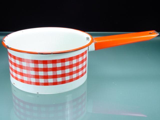 Vintage Enamel 1 1/2 Quart Pan with Red & White Gingham Band