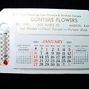 1957 Conyers Flowers Desktop Calendar/Thermometer