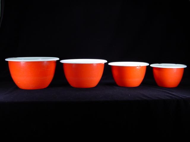 Four Vintage Red & White Enamel Mixing Bowls