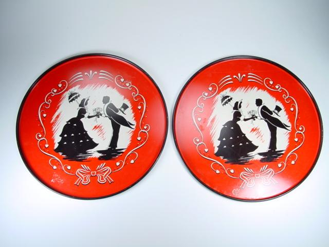 Two Vintage Red, Black, & White Silhouette Trays