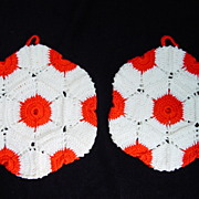 Two Vintage Red & White Crocheted Pot Holders