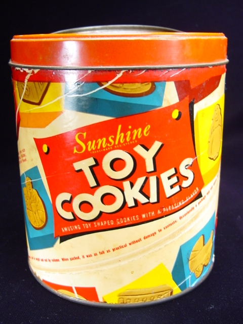 "Vintage ""Sunshine Toy Cookies"" Container"