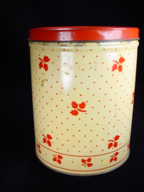 Vintage Red & Cream Canister with Leaves and Polka Dots